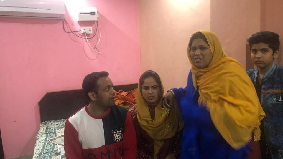Gangster Sohrab with his family at a hotel in Lucknow.