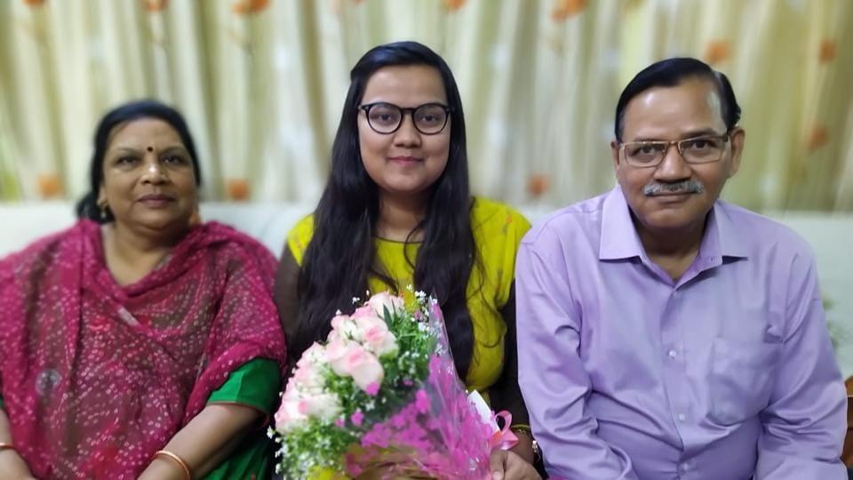 Tanvi Mathur with her parents.