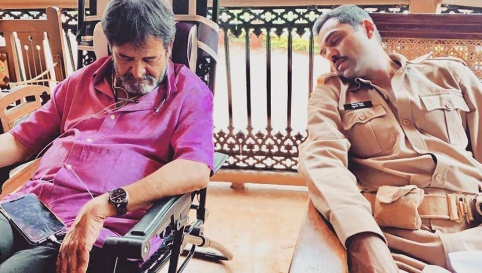 Mahesh Manjrekar and Abhay Deol sleeping on the sets of a web series.