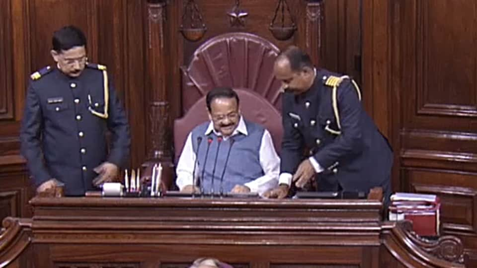 A member highlighted the missing caps even as Venkaiah Naidu was settling down on Thursday.