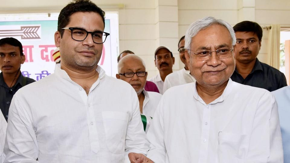 JD (U) national vice president and ace electoral strategist Prashant Kishor with Bihar CM Nitish Kumar.