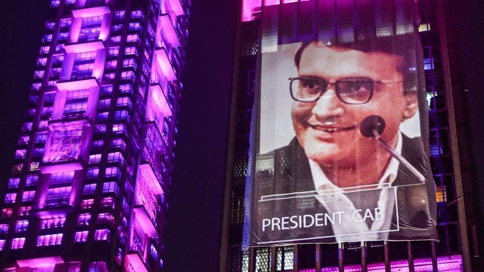 Kolkata: An illuminated building displays an image of BCCI President Sourav Ganguly.