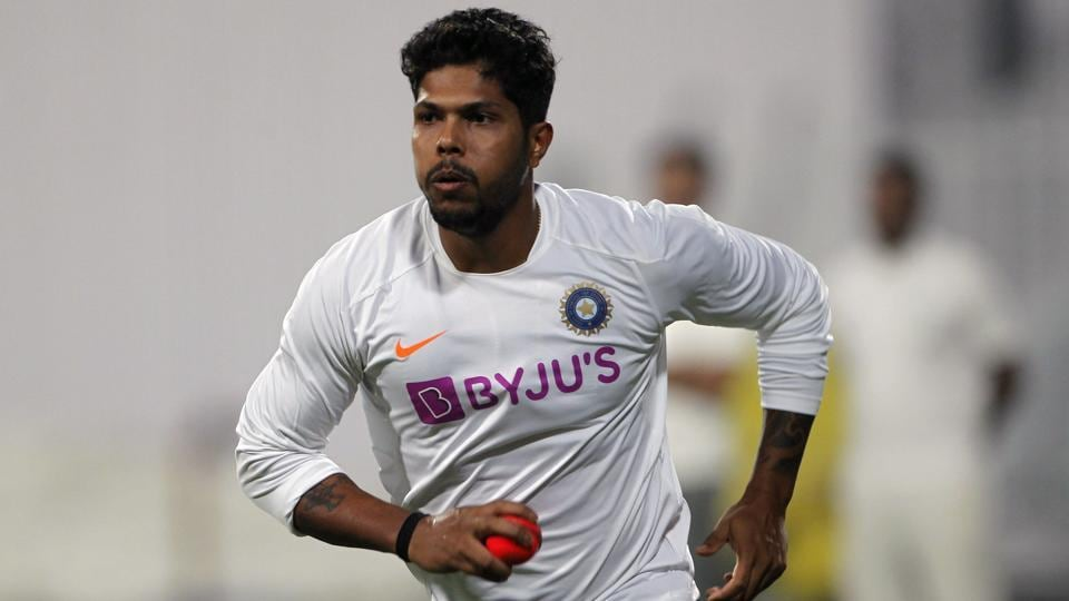 Indian bowler Umesh Yadav practices with a pink ball ahead of the 2nd Test match between India and Bangladesh at Eden Gardens stadium in Kolkata.