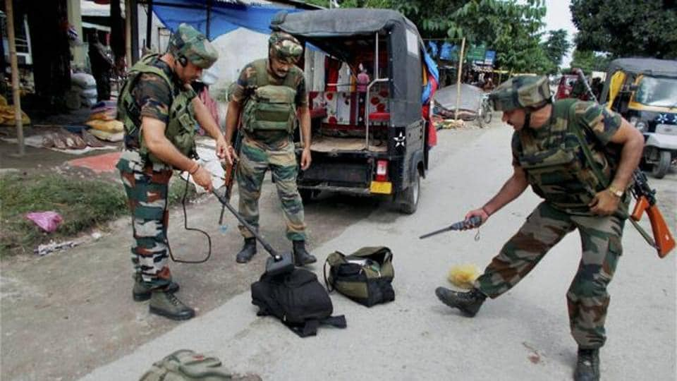 Indian Army scrutinizing the bags seized  from NDFB (S) terrorists near Kokrajhar in Assam.
