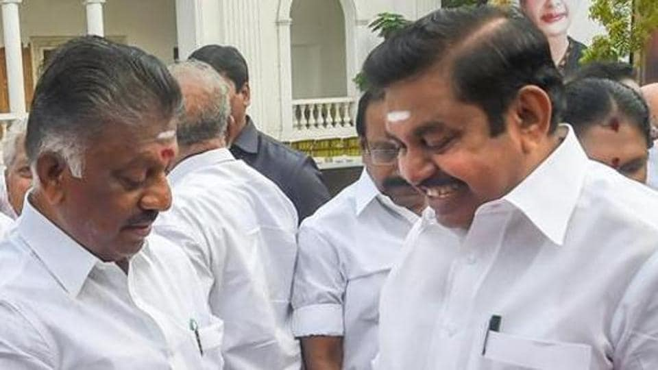 Tamil Nadu Chief Minister K Palaniswami and Deputy Chief Minister O Panneerselvam