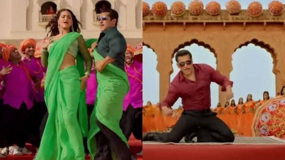 Sonakshi Sinha and Salman Khan in a still from Dabangg 3 song Yu Karke.