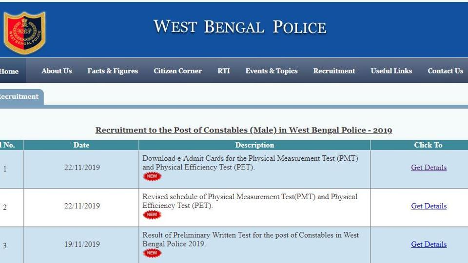 WB Police constable PMT and PET 2019 admit card. (Screengrab)