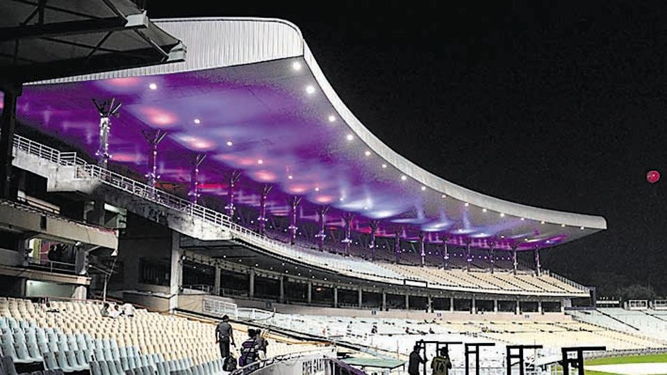 Eden Garden was illuminated with pink light ahead of India'a first pink ball test match, in Kolkata.
