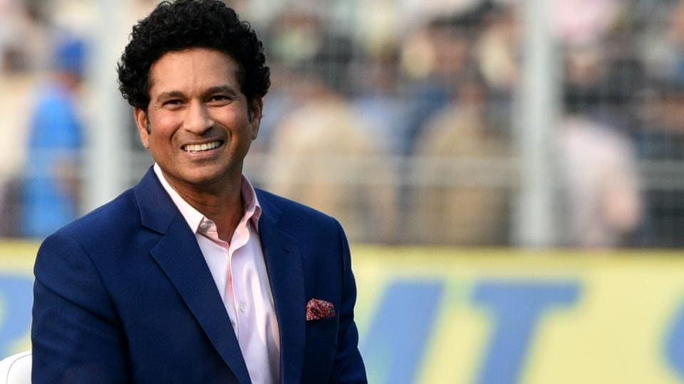 Former Indian cricketer Sachin Tendulkar on the first day of India's first pink ball Test .