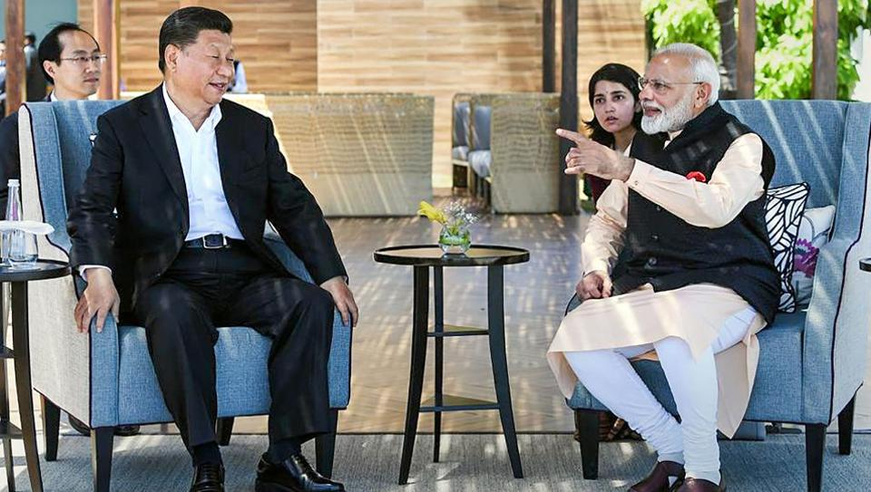 Prime Minister Narendra Modi with Chinese President Xi Jinping, at Fisherman's Cove in Kovalam near Mamallapuram.