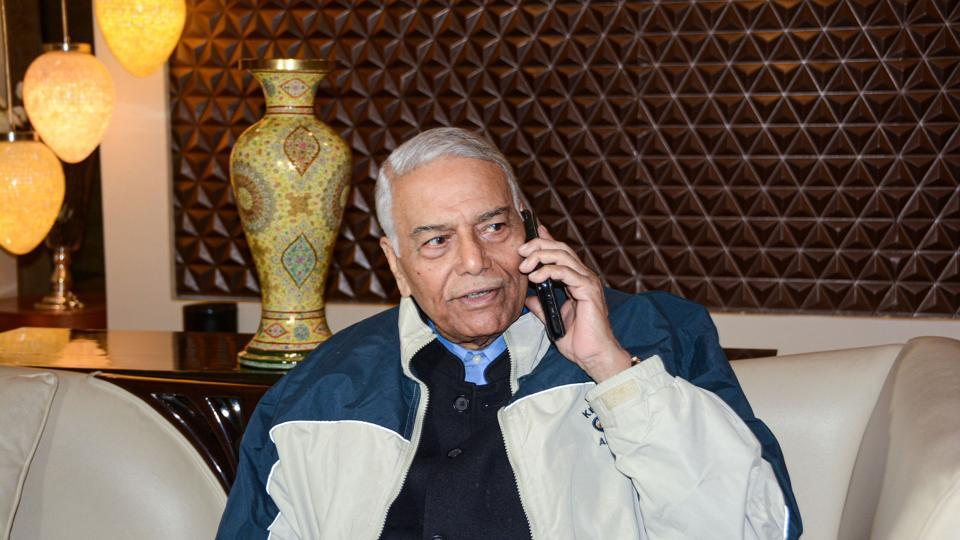 Indian Civil Society head and former union finance minister Yashwant Sinha speaks on a phone during hsis visit to the valley to assess the situation on the 110th day of strike in Srinagar on Friday.