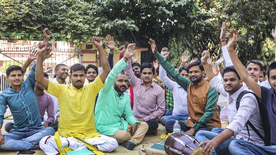 Students called off a fortnight-long sit-in protest on Friday against the appointment of a Muslim to teach Sanskrit in Banaras Hindu University's Sanskrit studies department.