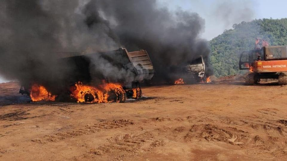 A total of nine vehicles were set ablaze in Kirandul mining area of the NMDC on Bailadila hills by Maoists.