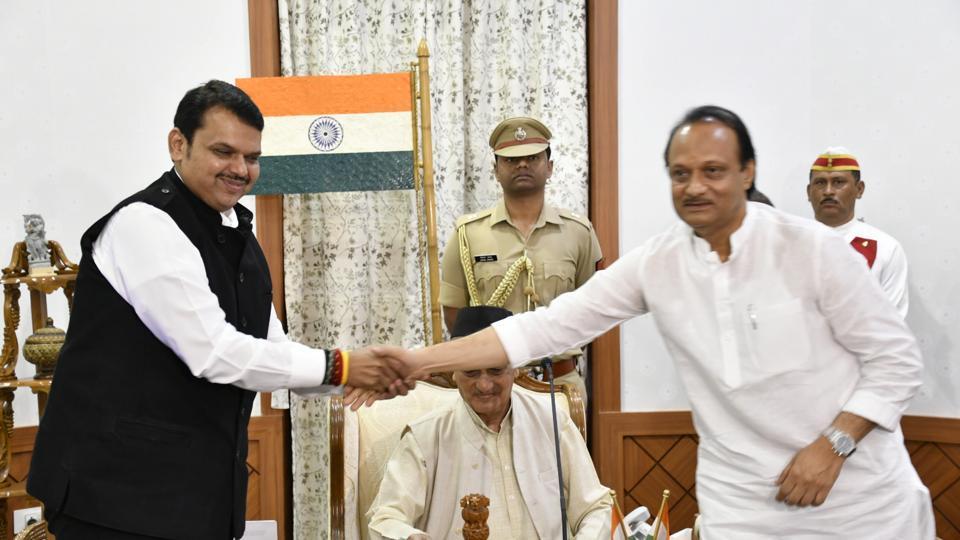 Mumbai, India - Nov. 23, 2019:Devendra Fadnavis appointed as Maharashtra CM and Ajit pawar as Deputy CM in presence of Maharashtra governor Bhagat Singh Koshyari at Raj Bhavan in Mumbai, India, on Saturday, November 23, 2019. (HT PHOTO)
