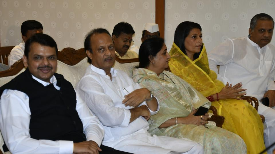 Devendra Fadnavis appointed as Maharashtra CM and Ajit Pawar as Deputy CM in presence of Maharashtra governor Bhagat Singh Koshyari at Raj Bhavan in Mumbai on Saturday November 23, 2019. (HT PHOTO)