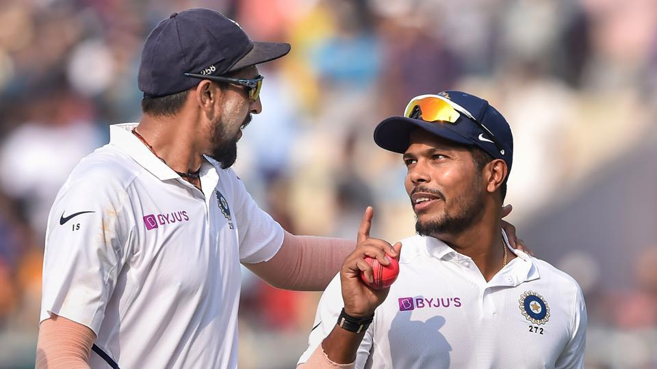Indian players Ishant Sharma and Umesh Yadav after winning the Test.
