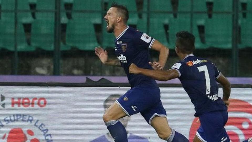 Chennaiyin FC celebrate after scoring winner.