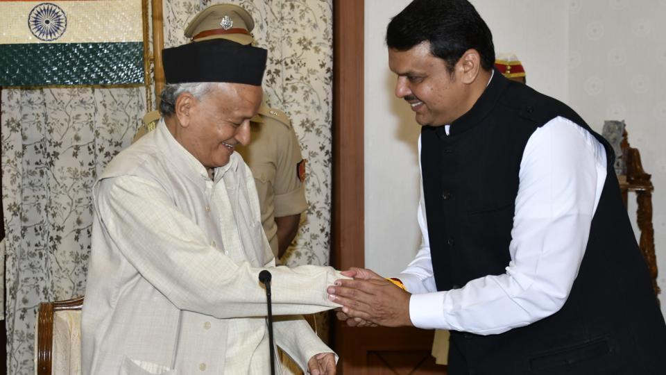 Devendra Fadnavis with Maharashtra governor Bhagat Singh Koshyari at Raj Bhavan in Mumbai, India, on Saturday, November 23, 2019.