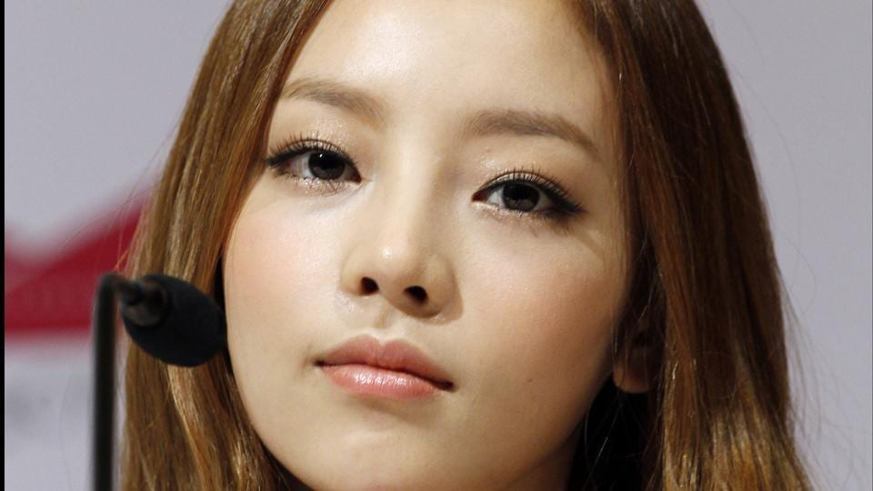 South Korea's pop girl group KARA's Goo Hara at a press conference in Singapore.