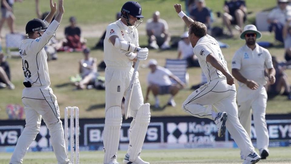 New Zealand's Neil Wagner celebrates after dismissing England's Stuart Broad