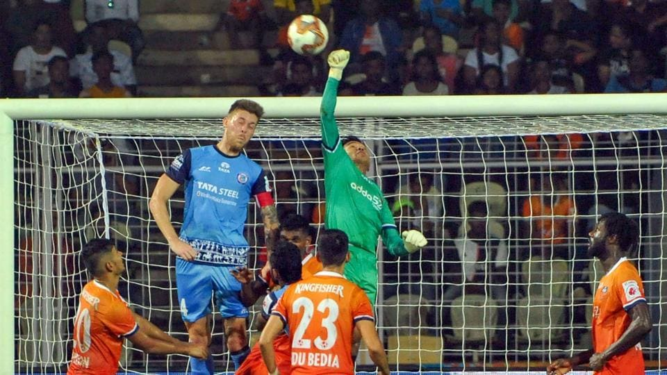 Panaji: Players of Jamshedpur FC in action against Goa during the 6th edition of ISL at Nehru Stadium in Panaji, Goa, Tuesday, Nov. 26, 2019.