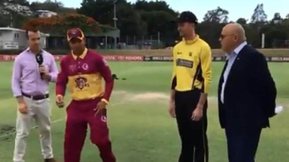 Usman Khawaja during coin toss in Marsh Cup Final.