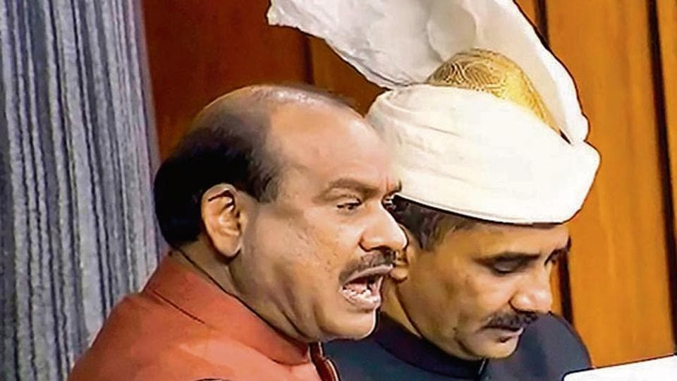 Speaker Om Birla conducts proceedings in the Lok Sabha during the Winter Session of Parliament on Monday.