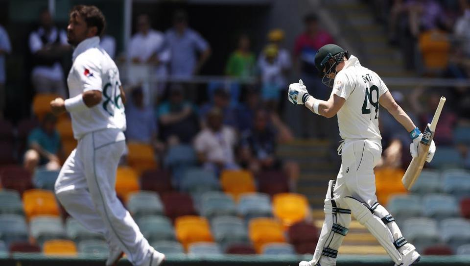 Steve Smith of Australia looks dejected after being dismissed by Yasir Shah of Pakistan during day three of the 1st Domain Test.