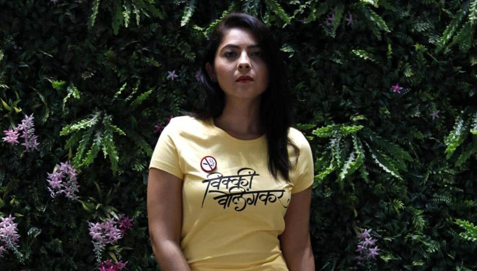 Sonalee Kulkarni poses for pictures during the promotion of her Marathi film Vicky Velingkar