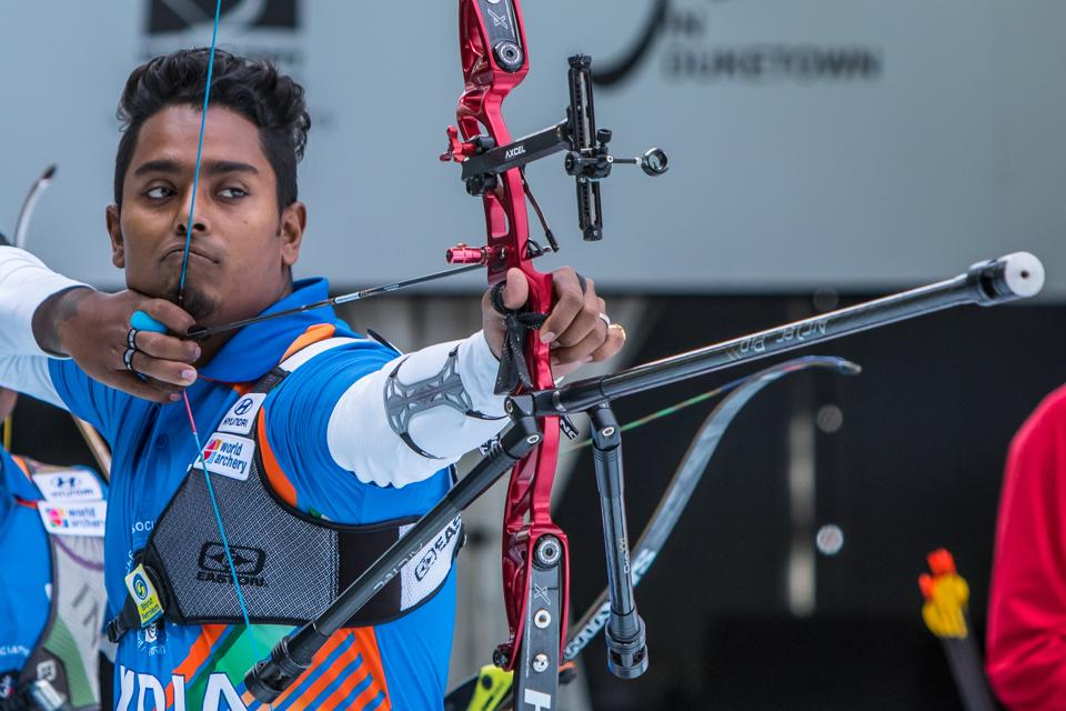 Atanu Das during the men's recurve team finals during the 2019 World Archery Championships.