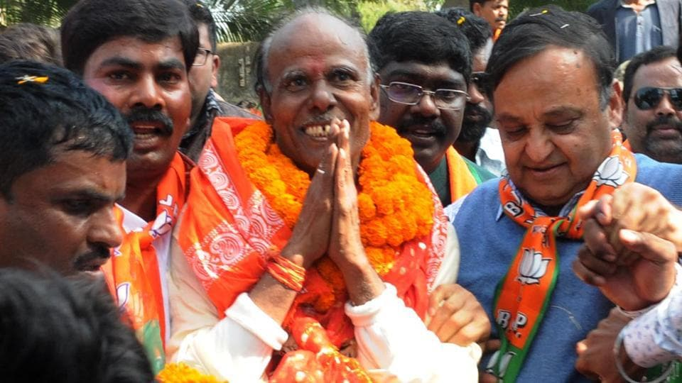 BJP candidate for Kanke assembly constituency Samri Lal with his supporters on way to file his nomination on the last day of nomination for 3rd phase of Jharkhand assembly election,  Ranchi,  on Monday, November 25, 2019.