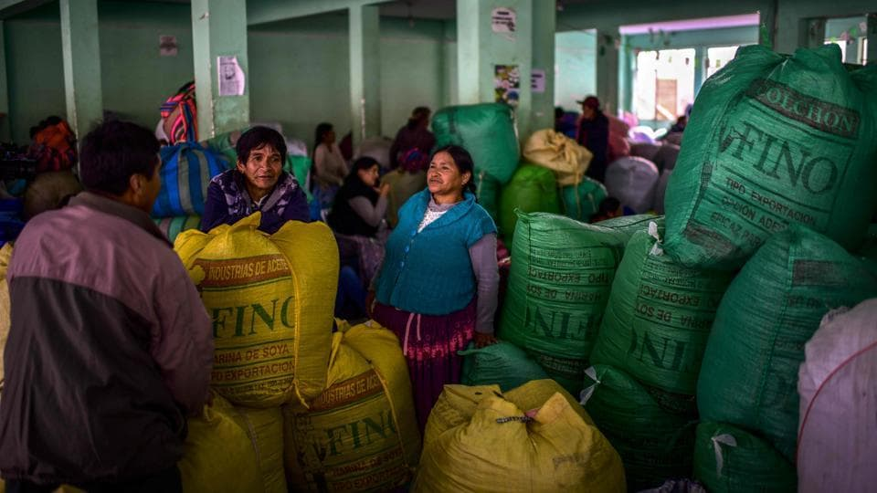 People amid sacks of coca leaves at the coca market in La Paz, Bolivia. A sense of abandonment now pervades the indigenous coca farmers after the departure of ex-president Evo Morales, the socialist leader who encouraged cultivation of coca, and under whose reign, extreme poverty reduced from 38% to 17% and the country achieved an average economic growth rate of 4.8%. (Ronaldo Schemidt / AFP)