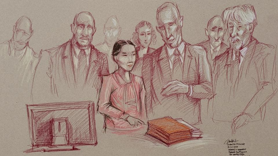 Yujing Zhang, 33, flanked by two U.S. marshals, stands to leave after she was found guilty of lying to a federal officer and trespassing at U.S.President Donald Trump's Mar-a-Lago resort, in a sketch made at U.S. District Court in Fort Lauderdale, Florida.
