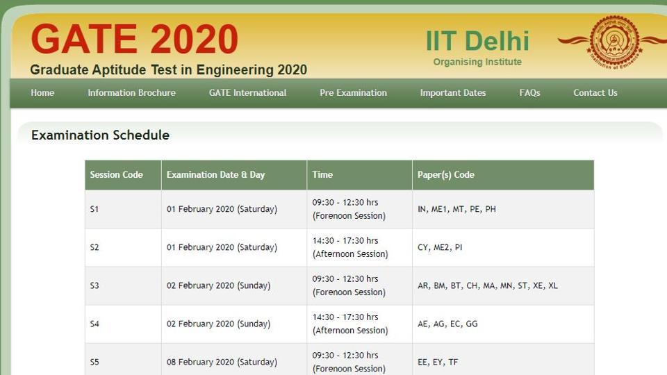 Indian Institute of Technology Delhi (IITD) has released the Graduate Aptitude Test in Engineering (GATE) 2020 exam schedule on its official website.