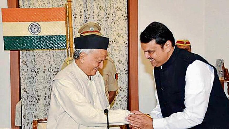 Governor BS Koshyari with Devendra Fadnavis during the oath-taking ceremony in Mumbai on Saturday.