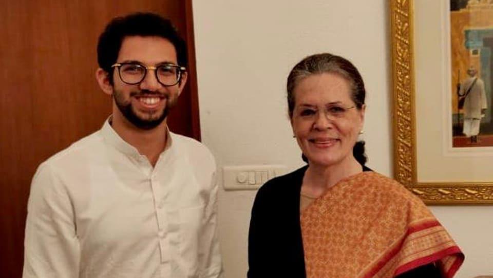 Shiv Sena boss Uddhav Thackeray's son Aaditya Thackeray arrived in New Delhi late on Wednesday evening to invite Congress chief Sonia Gandhi.