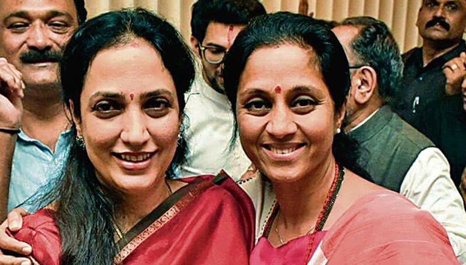 NCP leader Supriya Sule (right) with Rashmi Thackeray, Shiv Sena chief Uddhav Thackeray's wife in Mumbai on Tuesday.