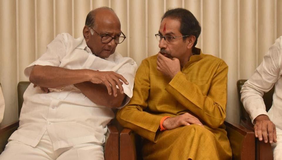 Shiv Sena chief Uddhav Thackeray and NCP chief Sharad Pawar during meeting of Shiv Sena , NCP and Congress alliance at Trident hotel, BKC in Mumbai.