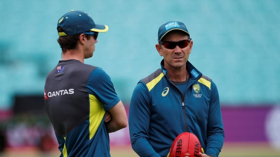 Australia head coach Justin Langer during nets
