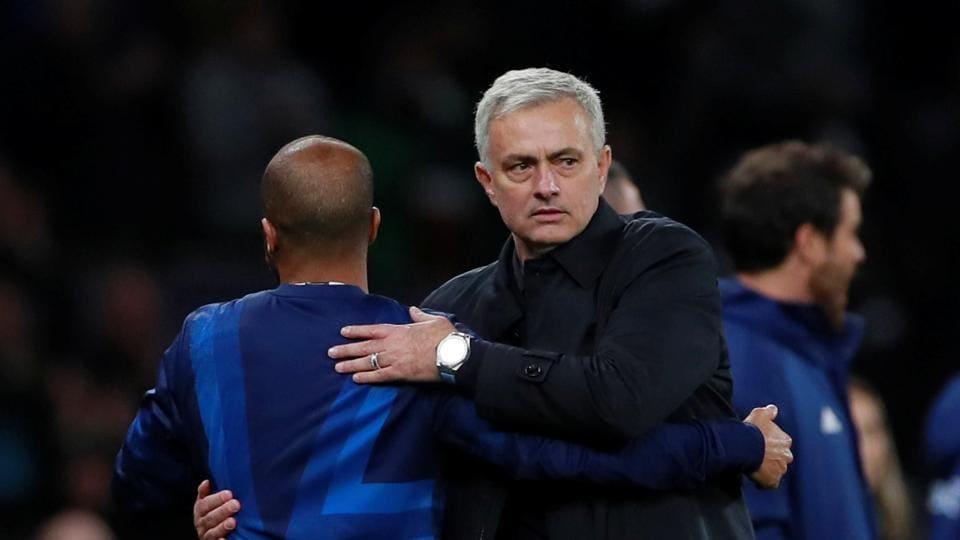 Tottenham Hotspur manager Jose Mourinho celebrates with Lucas Moura after the match.