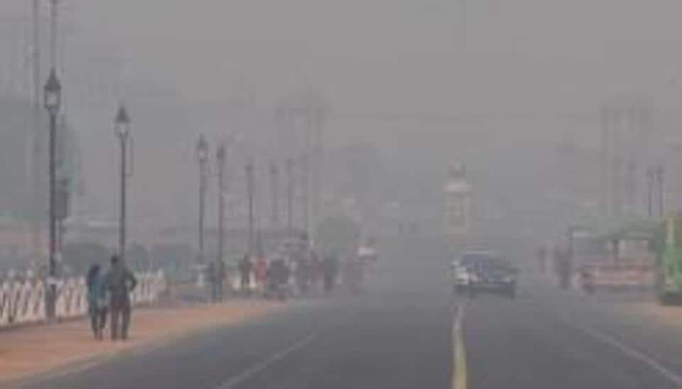 A view of smog and pollution at Rashtrapati Bhawan in New Delhi