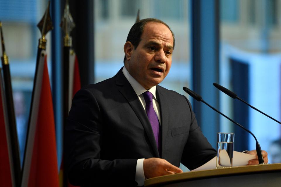 Egypt's President Abdel Fattah al-Sisi addresses participants of the