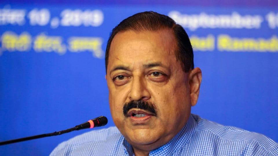 Minister of State for PMO Jitendra Singh addresses a press conference in Jammu in September 2019.
