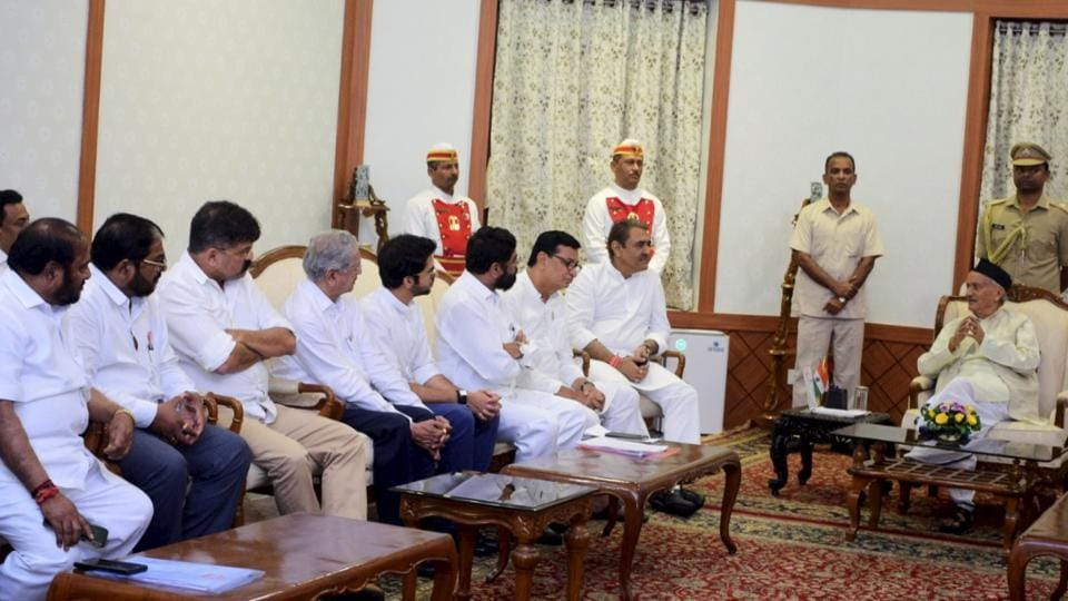 Mumbai: A group of leaders of Shiv Sena, NCP, Congress and allied parties called on the Governor of Maharashtra Bhagat Singh Koshyari at Raj Bhavan, Mumbai