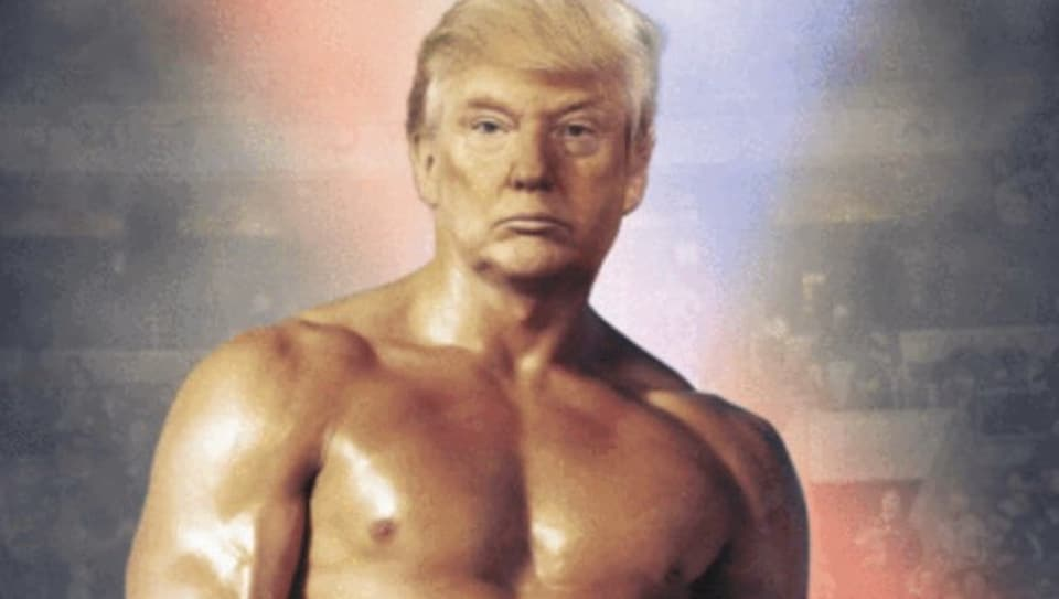 The  tweeted image of Donald Trump, in which a distinctly airbrushed version of the 73-year-old president's face is used, comes without comment.