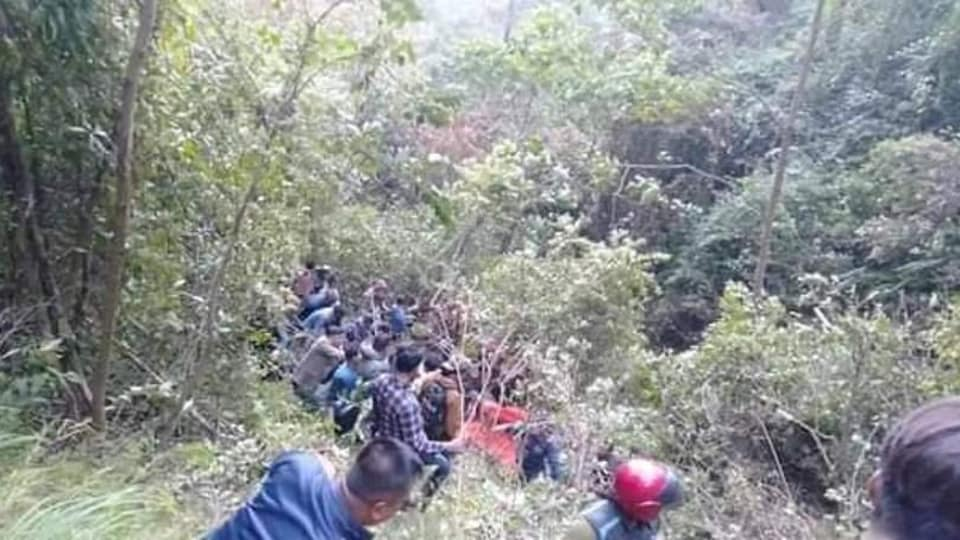 18 people died after a bus skidded off a highway in Nepal.