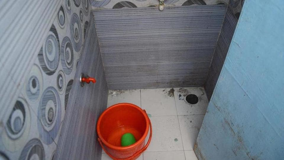A bathroom in a public toilet at Sangamwadi. This restroom is being cited as Pune's only'best toilet' right now.