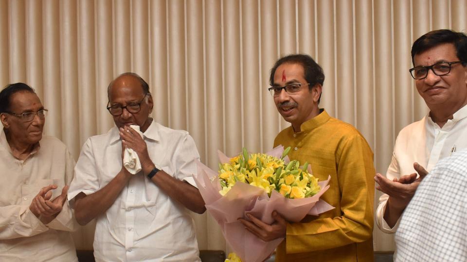 Shiv Sena chief Uddhav Thackeray and NCP chief Sharad Pawar during meeting of Shiv Sena , NCP and Congress leaders.