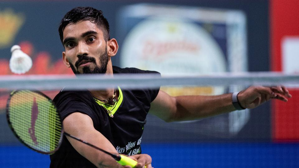 Kidambi Srikanth of India in action in his match against Anders Antonsen of Denmark.
