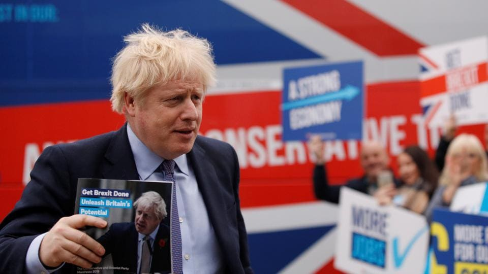 Britain's Prime Minister Boris Johnson arrives for the Conservative party's manifesto launch at Telford, Britain, November 24, 2019